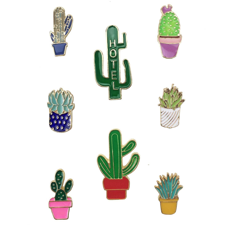Enamel Brooch Pin Sets for Unisex Children Zinc Alloy Cute Mini Cartoon Rainbow Diamond Cactus Lapel Pin for Backpack Decor (Cactus)