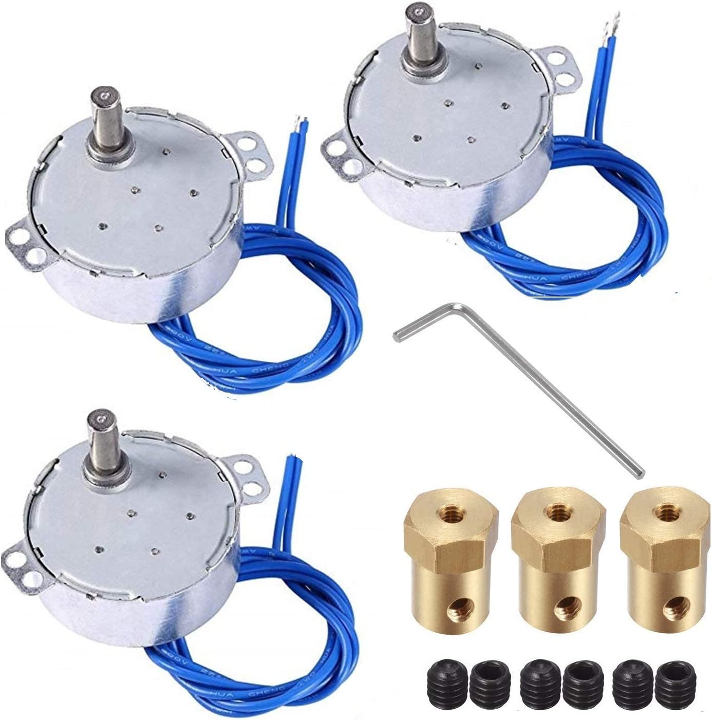 30mm Length Tumbler Turner Spinner 4 set Synchronous Turntable Motor Electric Motor for Cup Turner Cuptisserie Flexible Coupling Connector,50//60Hz AC100~127V 4W CCW//CW Cup Rotator with 7mm