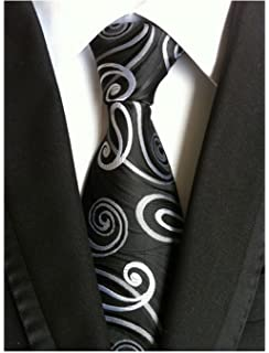 New Classic Gray/&Black Striped Tie WOVEN JACQUARD Silk Men/'s Suits Ties Necktie