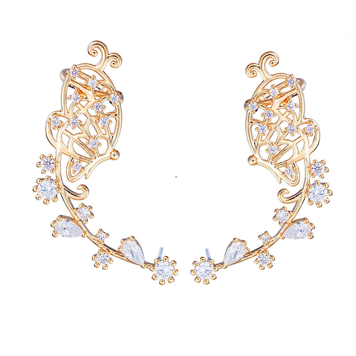 EAR VINES Butterfly Ear Cuff Pin CZ Crystal Ear Climbers Earrings earvine88