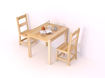 Amazon.com: Natural Solid Wood Table and Chairs 3 Items with One ...