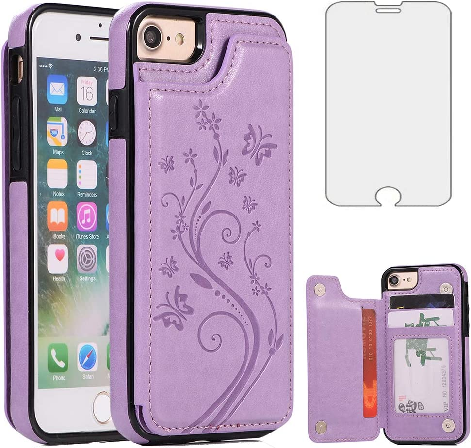 Phone Case for iPhone SE 2020/7/8 with Tempered Glass Screen Protector Card Holder Wallet Cover Stand Flip Leather Cell iPhoneSE2020 iPhone7 iPhone8 i Phones8 i7 i8 7s 8s Cases Women Girls Men Purple