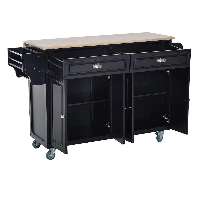 HOMCOM Wood Top Drop-Leaf Rolling Kitchen Island Table Cart on Wheels - Black by HOMCOM (Image #8)