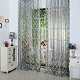 """Daxin Chic Room Leaf Pattern Voile Window Curtain Sheer Panel Drapes 39.4"""" x 78.8"""" Grey"""