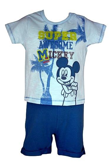 Camiseta oficial de Disney Baby Mickey Mouse Bordado y pantalón corto recién nacido - 12 meses