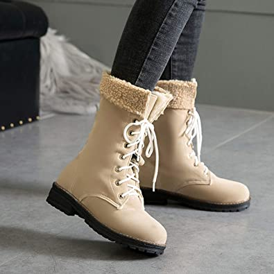 0385dabe74c Amazon.com | Winter Snow Boots 2018 New Solid Color Square Heel Lace ...