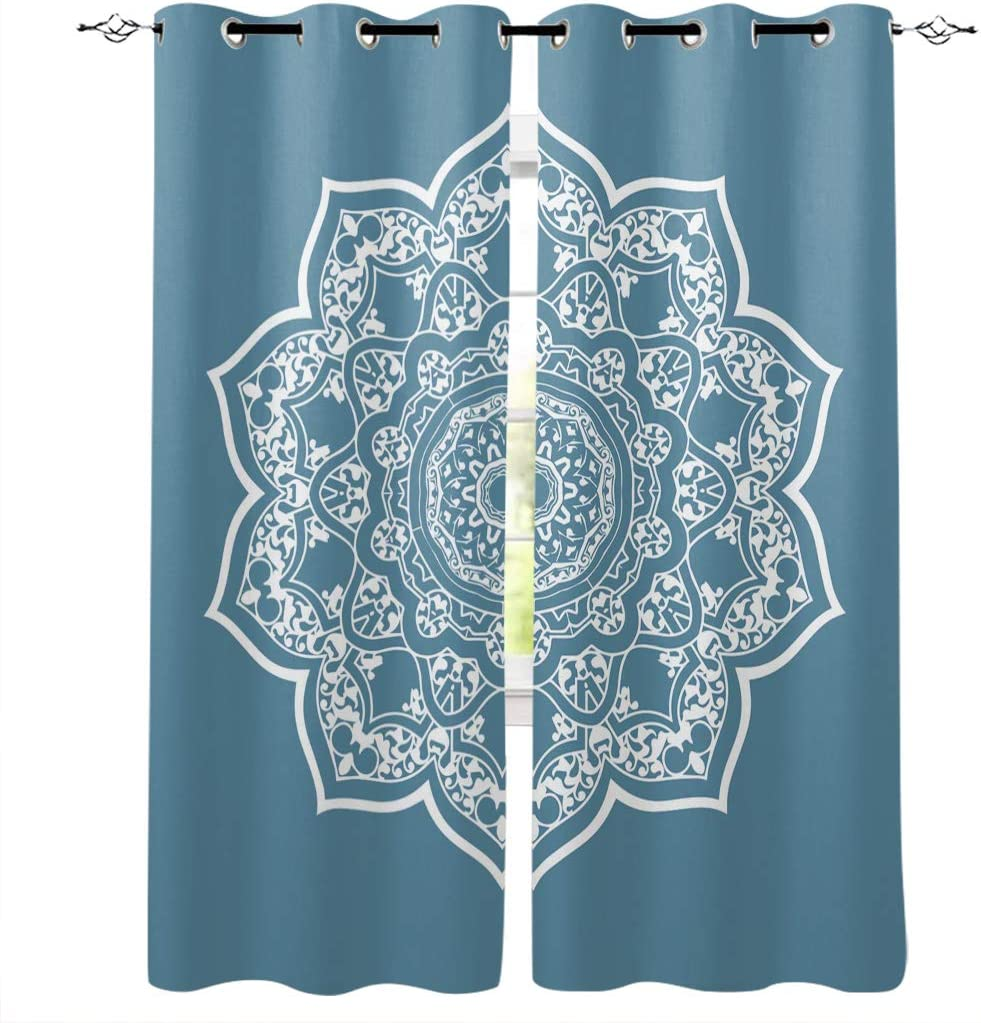 Amazon Com Onehoney Blackout Curtains For Bedroom Indian Mandala Flower Grommet Thermal Insulated Window Treatments Blue And White Home Decoration Drapes Set Of 2 Panels 52x52inx2 Home Kitchen