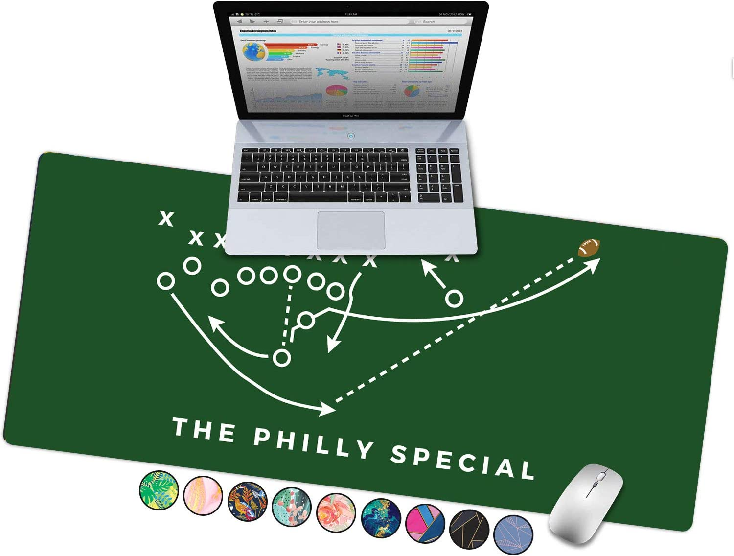 """French Koko Large Keyboard Mouse Pad Desk Mat Desktop Home Office Big Extended Laptop Protector Computer Accessories Mousepad Gaming Philadelphia Sports Team Eagles XL 31""""x15"""" (The Philly Special)"""