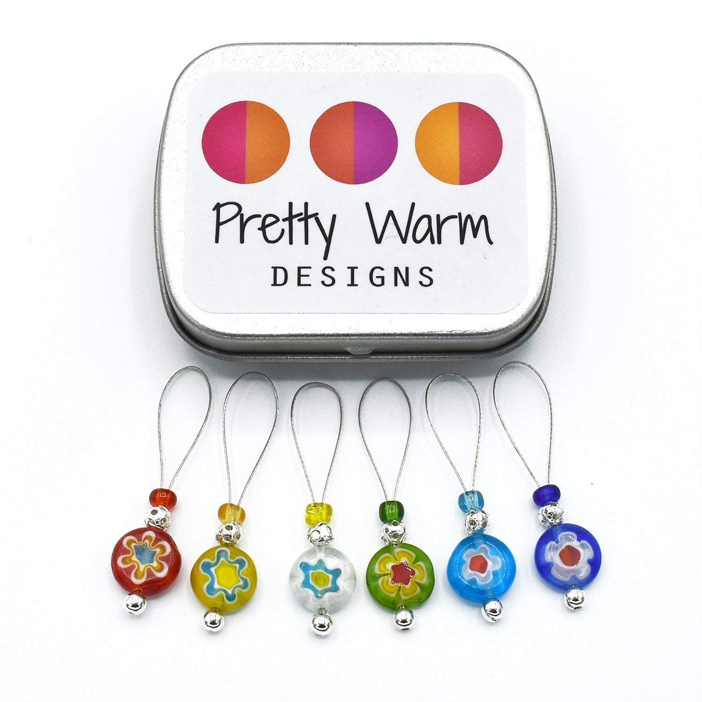 Millefiori Rainbow Stitch Markers for Knitting
