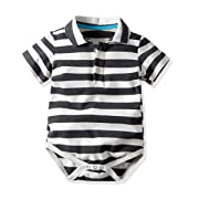 Carlatar Newborn Baby Boys Romper Clothes Animals Print Short Sleeve Onesies Bodysuit Jumpsuit (Stripe, 0-9 M/70)