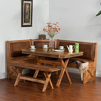 Sunny Designs 0222RO Sedona Breakfast Nook Set With Side Bench