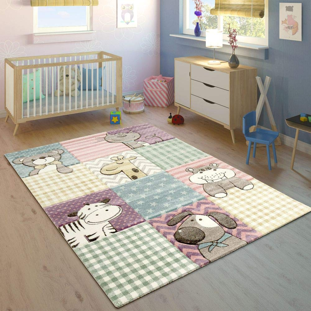 Children's Rug Children's Room Contour Cut Funny Animals Colourful Pastel Colours, Size:80x150 cm Paco Home