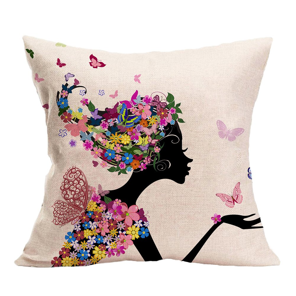 Smilyard Throw Pillow Covers Flower Butterfly Girl Cotton Linen Square Decorative Pillowcase Throw Pillow Cushion Cover 18 x 18 inch PG01