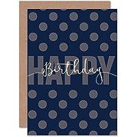 Card Birthday Happy Polka DOT Blue Gift