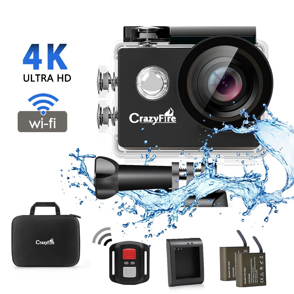 Cámara Acción CrazyFire WiFi Impermeable Deportiva Videocámara K Ultra HD Vídeo MP
