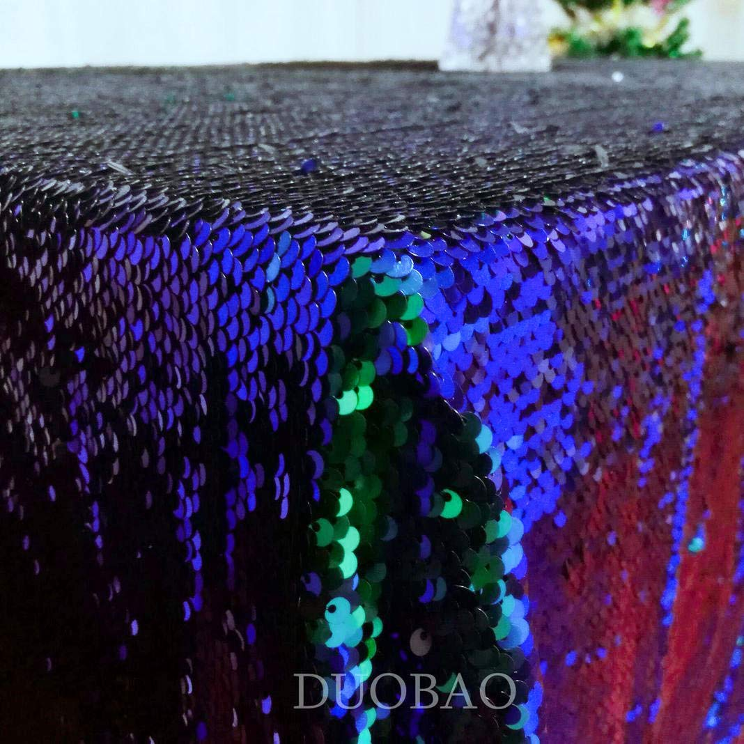 DUOBAO Sequin Tablecloth 60x84-Inch Black Mermaid Sequin Fabric Green to Black Glitter Tablecloth Reversible tablecloths for Rectangle Tables~0516 by DUOBAO (Image #3)