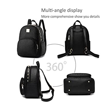 Nicole/&Doris New Women Weave Travel Shoulder Bag Backpack Purse Satchel PU Leather Fashion Personality