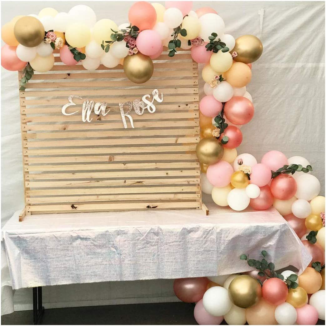 BCARICH Pastel Balloons Arch Garland, 100 pcs Pink, Yellow, Orange, Rose Gold, White and Gold Organic Balloons, for Blush Bridal Shower, Wedding Decors, Baby Shower Party Decorations
