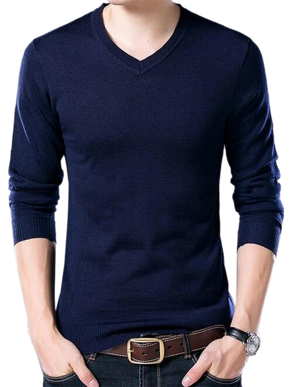 ONTBYB Mens Knit Leisure V-Neck Thin Pullover Thermal Winter Sweaters 1 XXS