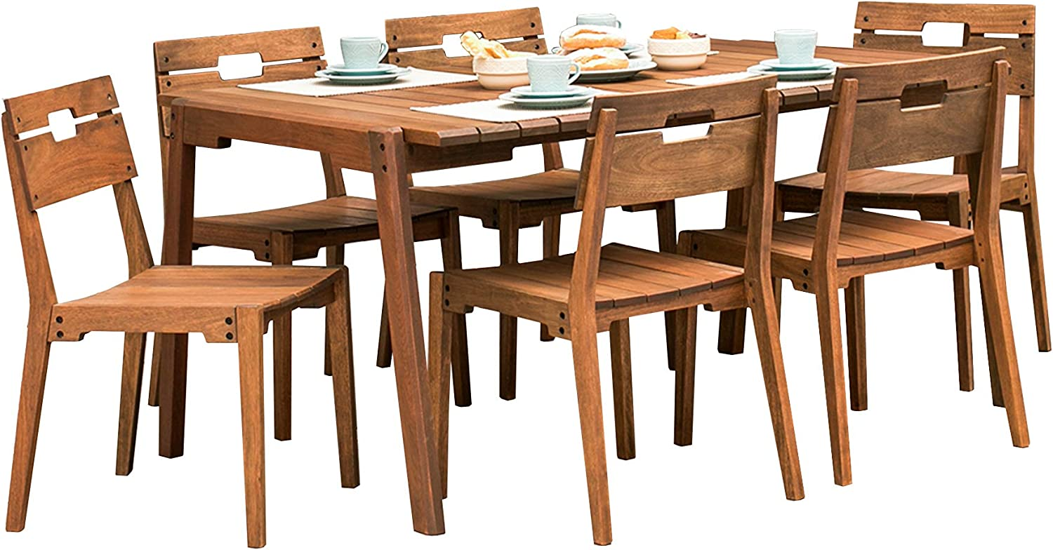 Alaterre Furniture Otero Eucalyptus Wood Outdoor Dining Table With 6 Dining Chairs Set Of 7 Patio Furniture Sets Patio Lawn Garden Fcteutonia05 De