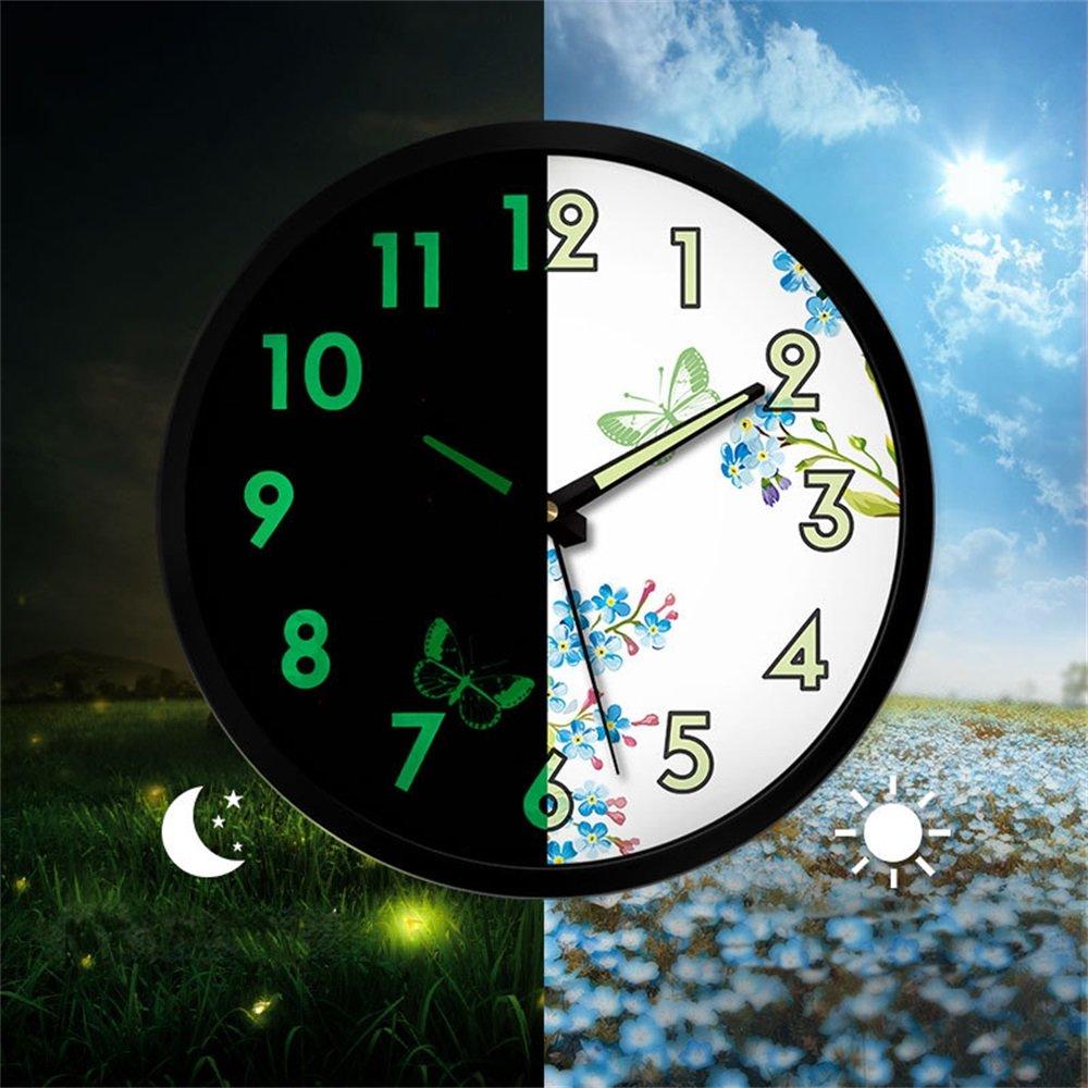 綿花世界 おしゃれな月球! 壁掛け時計 ユニーク 全面蓄光ウォールクロック(音がない) (蝶) B074W6C1D5 蝶 蝶