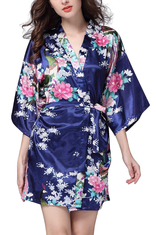 YAOMEI Mujer Vestido Kimono Satén, Camisón para Mujer, Sedoso Pavo ...