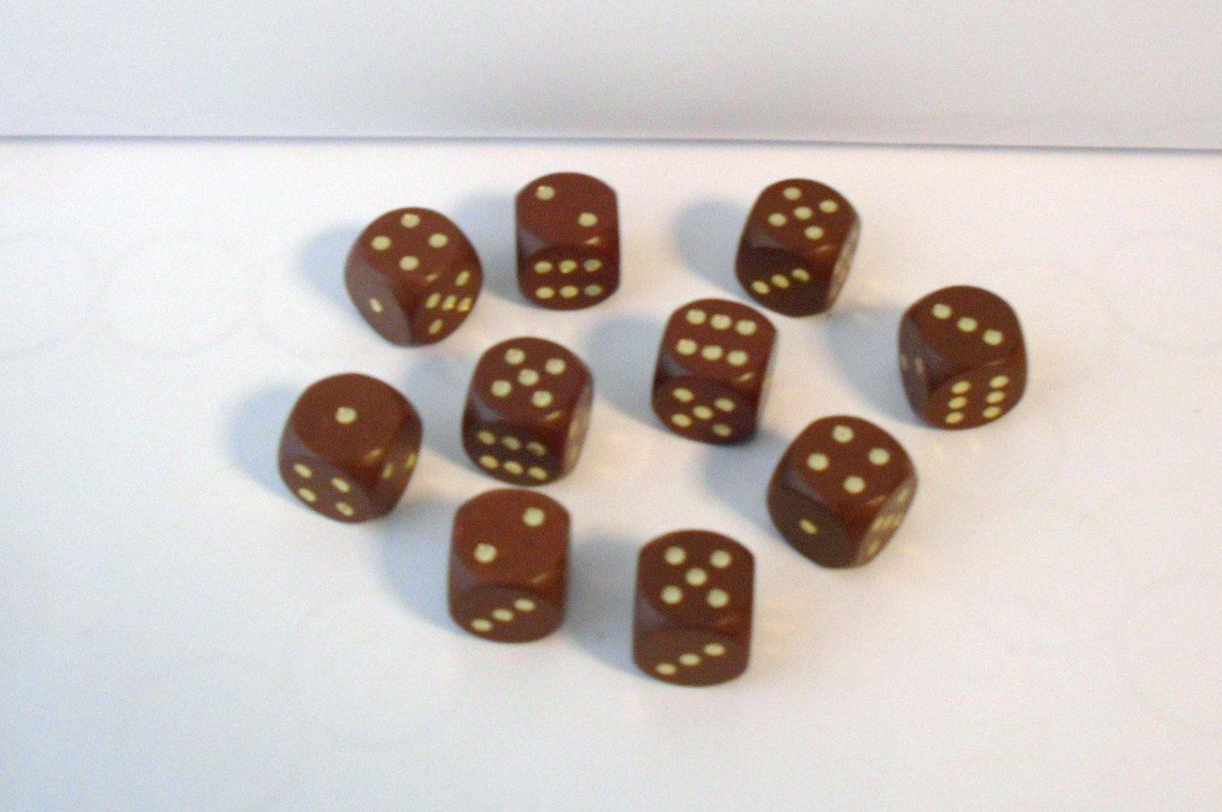 10 Würfel aus Ahornholz (16 mm)-braun G&S