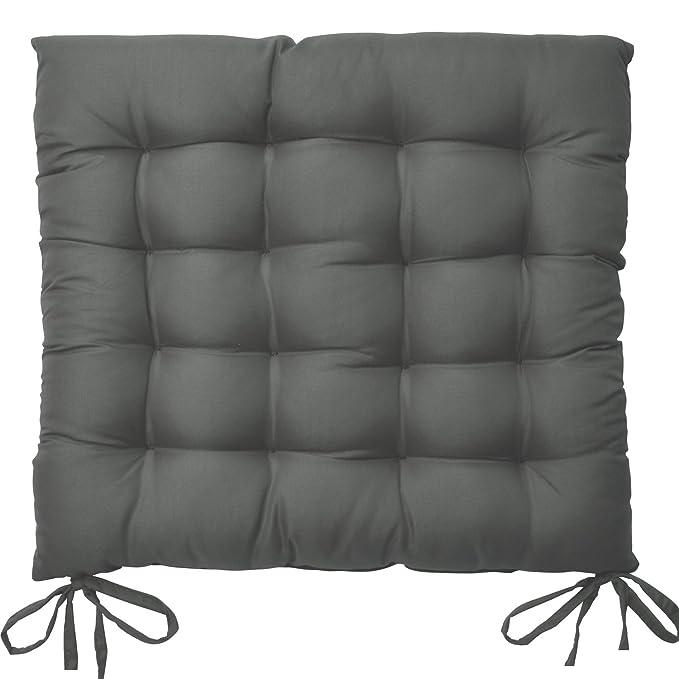 Beautissu Set 6 Lea - comodísimos Cojines para sillas - Vivienda o terraza - 40 x 40 x 5 cm - Antracita