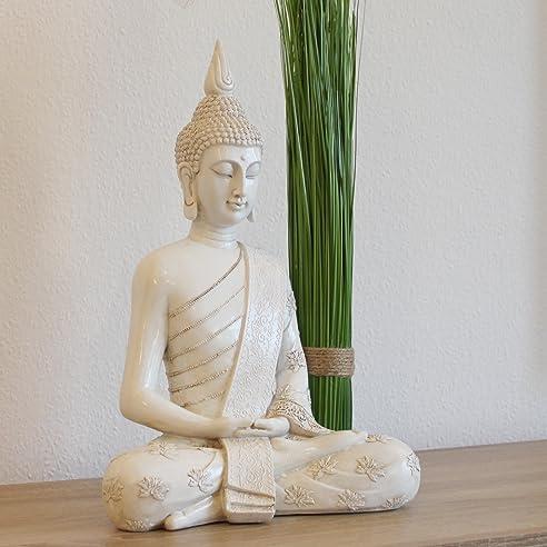 amazon.de: thai buddha weiß statue groß 40 cm sitzend buddhafigur ... - Wohnzimmer Deko Figuren
