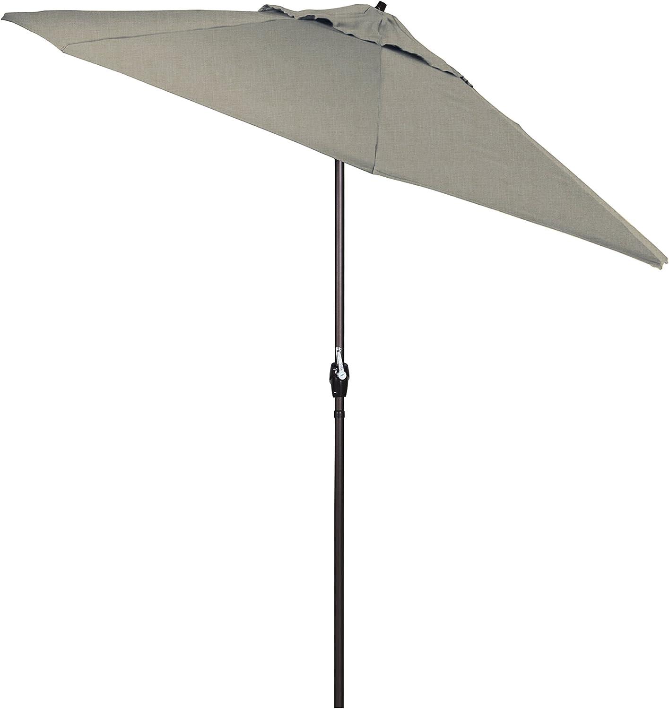Bronze Pole California Umbrella ATA908117-5402 9 Round Aluminum Market Auto Tilt Crank Lift Sunbrella Granite Fabric Patio Umbrella