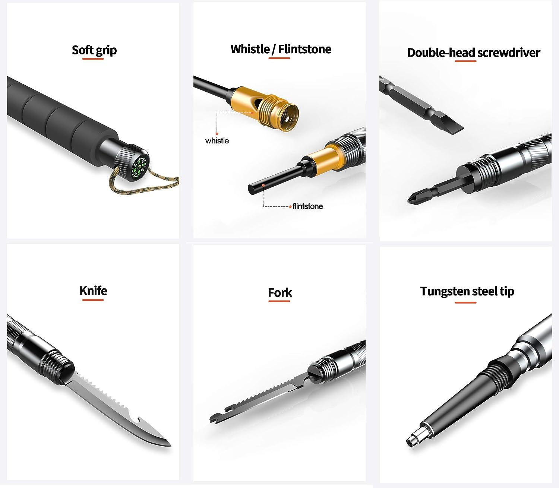 la randonn/ée la randonn/ée Alliage daluminium portatif Multifonctionnel Ultra-l/éger Outils pour la randonn/ée la randonn/ée B/âton de Randonn/ée Nordique Le Camping lalpinisme