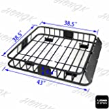 HongK- Black Universal Roof Rack Cargo Car Top Luggage Holder Carrier Basket Travel SUV