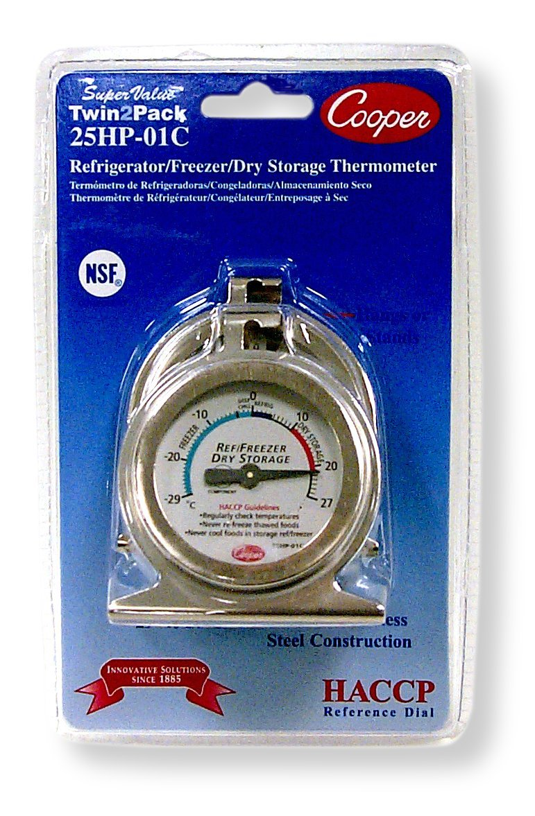 Cooper-Atkins 25HP-01C-2 Bi-Metal Refrigerator/Freezer Thermometer with HACCP Guideline, NSF Certified, -29/27°C Temperature Range (Pack of 2) Cooper-Atkins Corporation