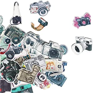 Cool Vintage Camera Sticker Pack for Decorate Your Scrapbook, Bullet Journals, Planners/Cute Decals for Laptop, Album, Diary/Waterproof Vinyl Stickers for DIY, Water Bottle, Luggage(40 Pieces)