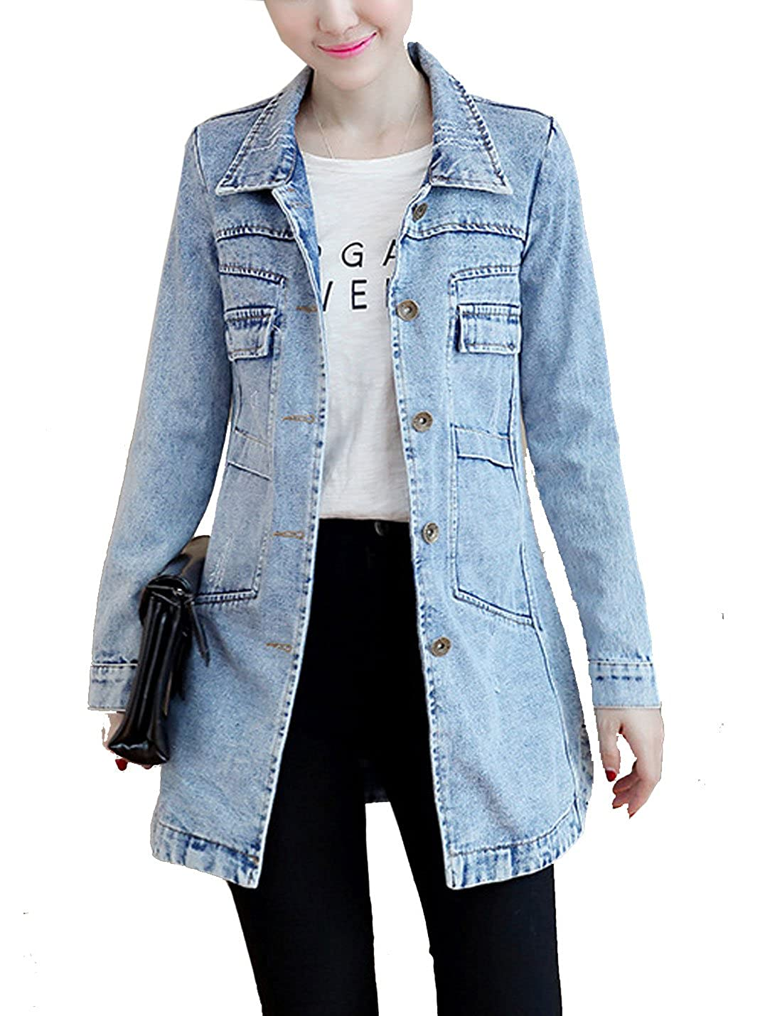 Yeokou Women's Casual Slim Fit Mid Long Button Down Jean Deanim Jacket Coat Tops