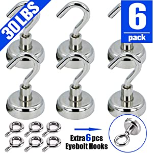 VNDUEEY 30LBS Heavy Duty Magnetic Hooks, Strong Neodymium Magnet Hook for Home, Kitchen, Workplace, Office and Garage (6 Pack)