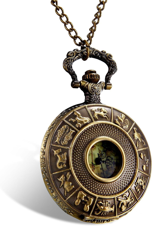 Lancardo Reloj de Bolsillo Retro de Cuarzo Cubierta de 12 Constelación Collar de Suéter con Cadena Dial de Mapa Mundial Colorido Joyería de Cuerpo de Moda para Hombre Mujer Unisex (Bronce)