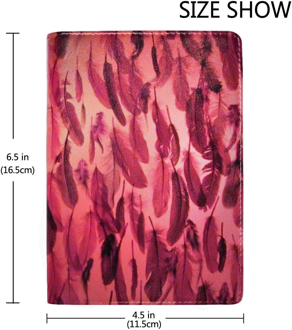 Pink Decor Feathers Fashion Leather Passport Holder Cover Case Travel Wallet 6.5 In