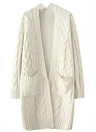 b962a731a6 Honeystore Women s Long Chunky Cable Knit Cardigan Coat Open Front Loose Sweater  Beige at Amazon Women s Clothing store