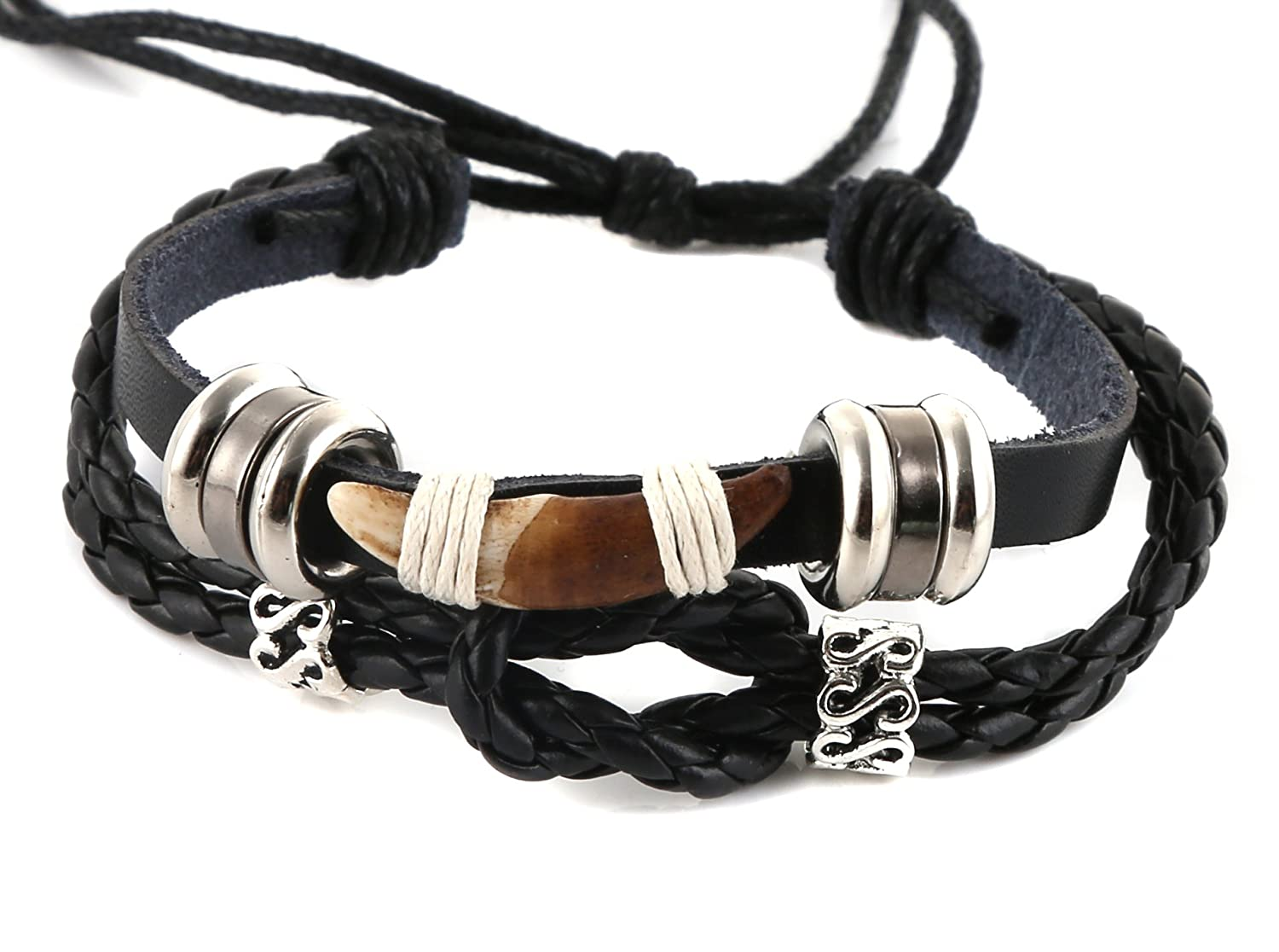 HZMAN Tibetan Style Real Wolf Tooth Silver Beads Adjustable Cord Bracelet, Prehistoric Caveman Tribal s101709A