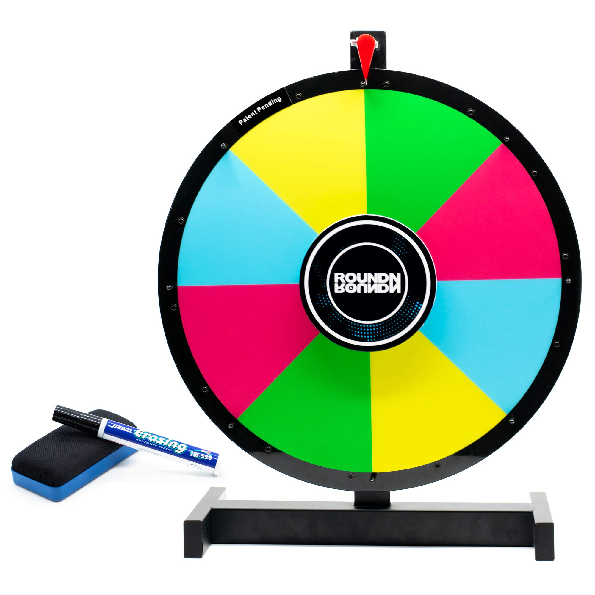 Round N Round Prize Wheel Spinner w/ Heavy Duty Metal Tabletop Stand | Reversible 2-Sided 14 + 8 Slot | Spinning Color Dry Erase Board | Spin to Win the Fortune of Roulette Casino Tradeshow Party Game
