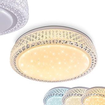 Led Deckenleuchte In Wählbar Lichtfarbe Weiß Sternhimmeloptik Dimmbar Stufen Glitzer Metall Lampe Burton Mit 3 Deckenlampe wk0OnP