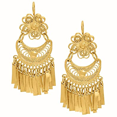 Amazoncom Mexican Gold Bathed Filigree Artisan Earrings
