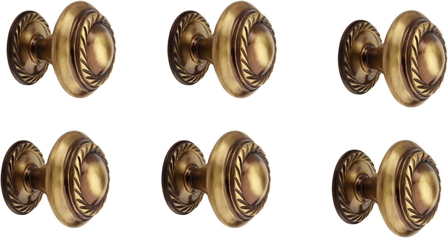 Kitchen Door Cabinet Knob 32Mm Dia Antique Satin Brass