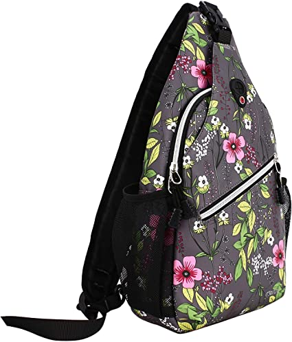 Lightweight Durable Polyester Chest Shoulder Crossbody Unbalance Gym Fanny Outdoor Hiking Daypack Travel Backpack for Men Women Girls Boys MOSISO Sling Bag with USB Charging Port Elephant