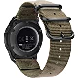 Bands Compatible with Galaxy Watch 46mm / Gear S3, Fintie Soft Woven Nylon 22mm Band Adjustable Replacement Sport Strap with Metal Buckle Compatible with Samsung Galaxy Watch 46mm / Gear S3 Classic Frontier, Desert Tan