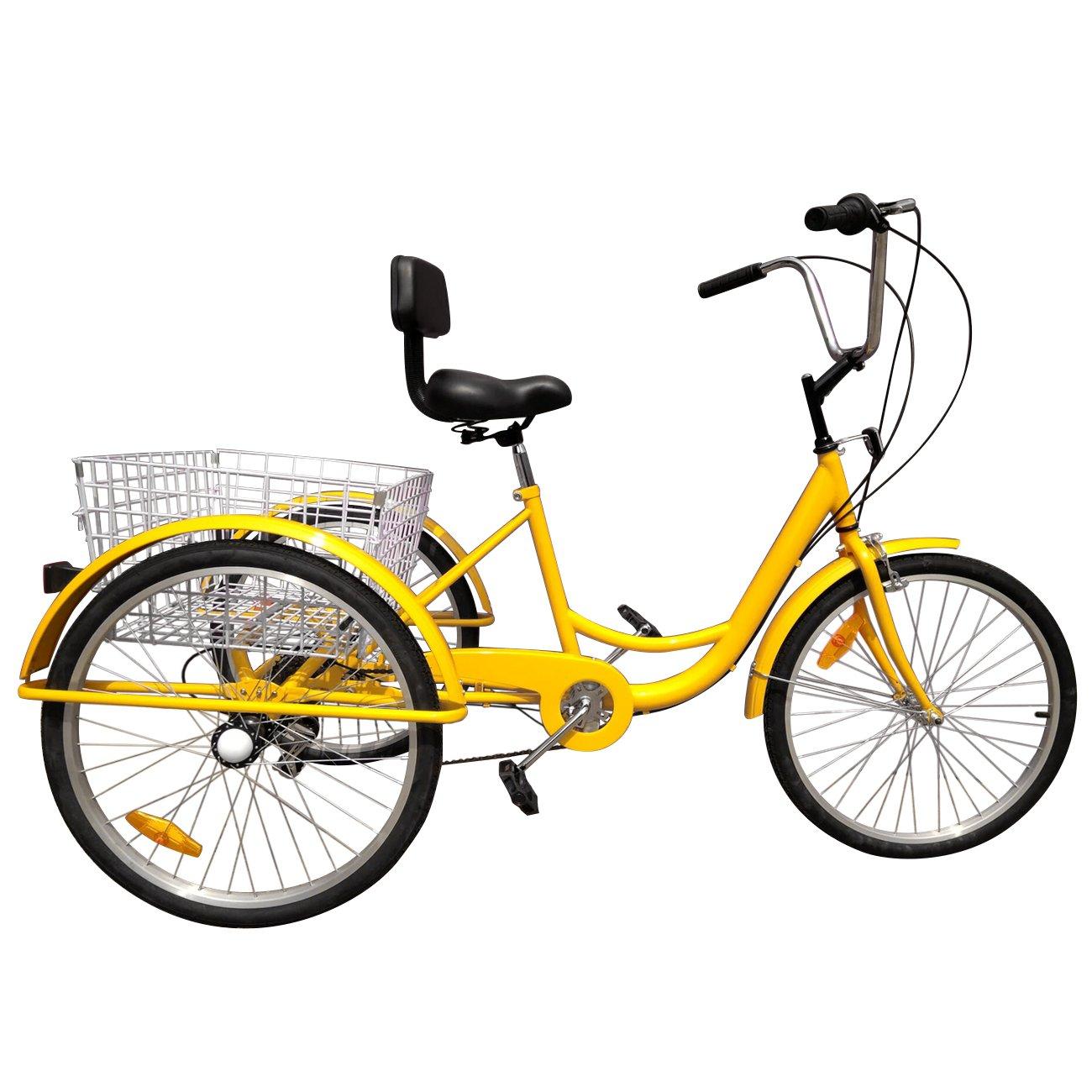 IglobalbuyYellow 24-Inch 6-Speed Adult Tricycle Trike 3-Wheel Bike Cruise Bike with Basket