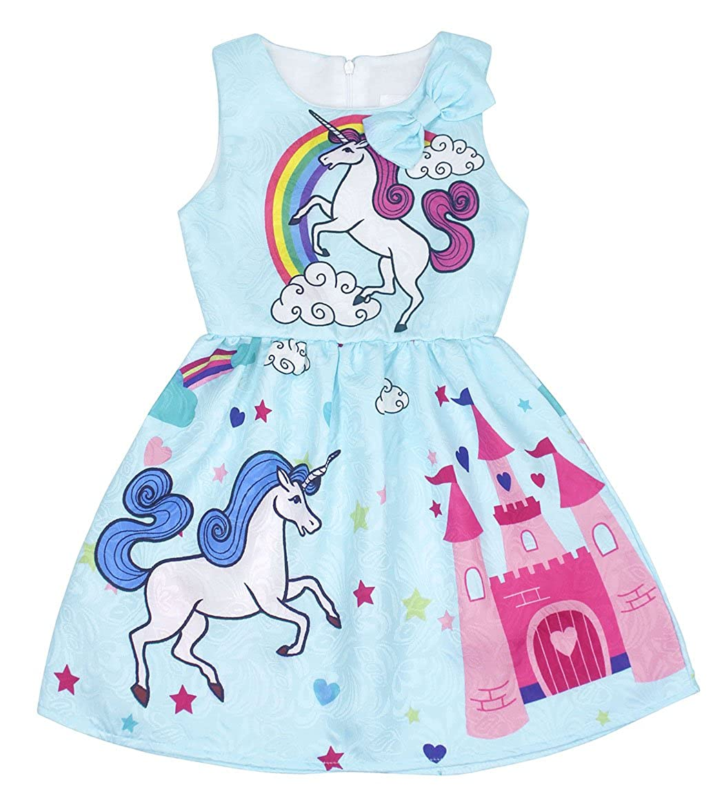 Jurebecia Unicorn Rainbow Dress Kids Sleeveless Birthday Party Pleated Outfits
