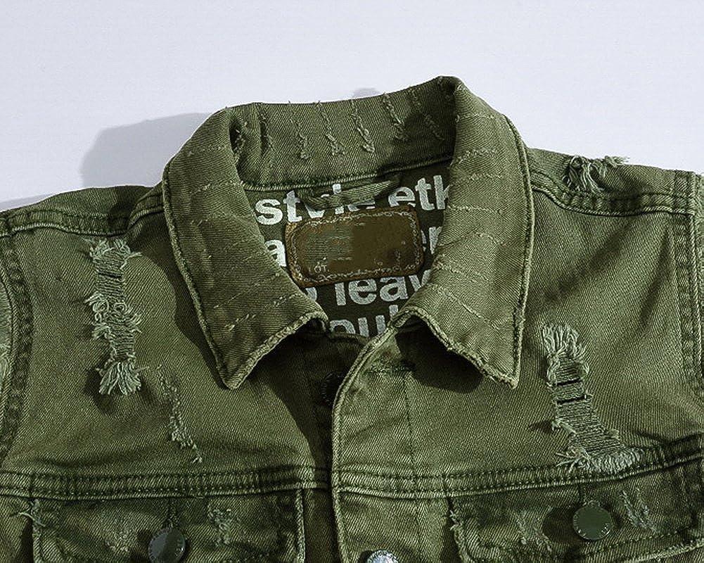 Veste en Jean sans Manche Homme Gilet Outwear sans Manches en Jean Denim Blouson Vert