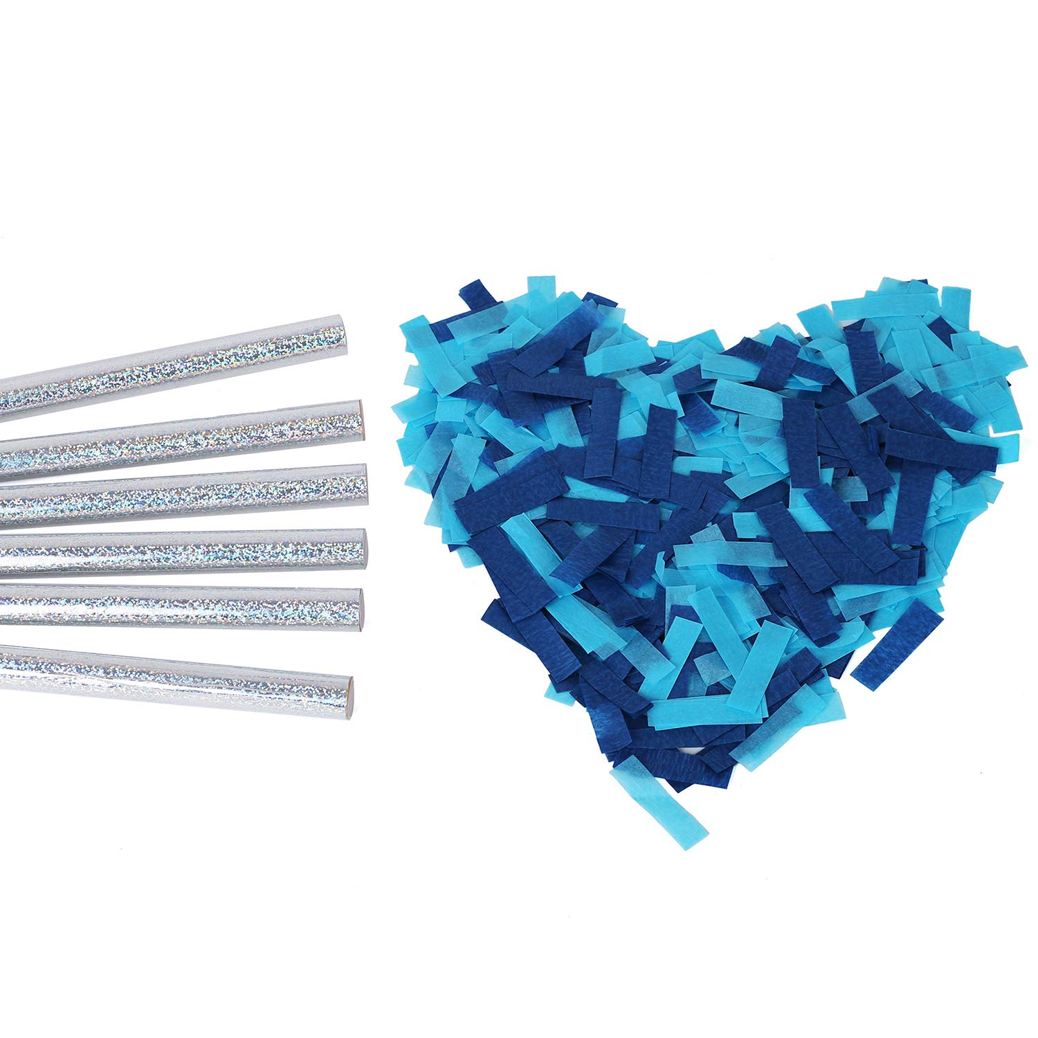 Gender Reveals Confetti Wands Blue 6Pack Paper Confetti Flick Sticks Biodegradable Tissue for Boy Baby Shower Party Decorations Supplies - Blue 14inch